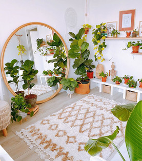 living room with plants and floor mirror