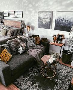 dark black and orange living room design