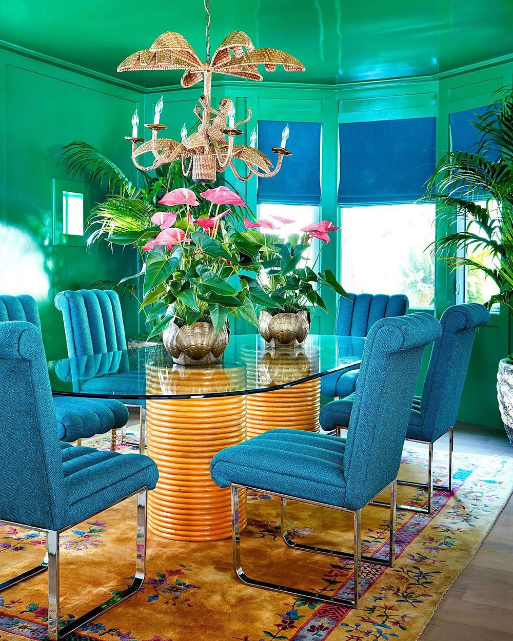 green and blue sea dining room theme with bright bold colors