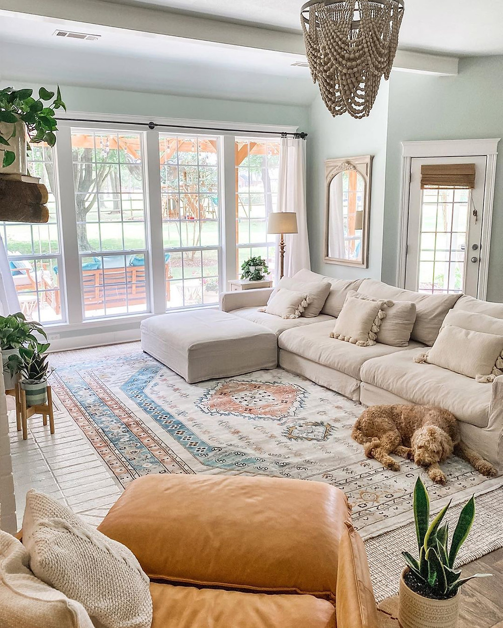 large open living space with dog sleeping