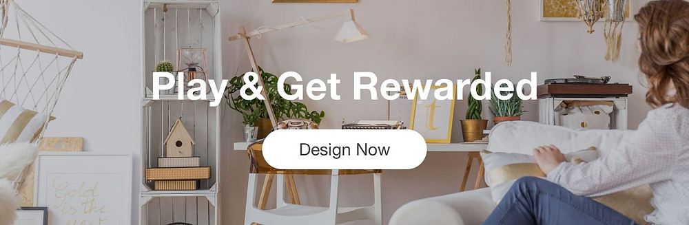 An image of a woman sitting on a couch in a boho and gold interior design room behind text that reads Play and Get Rewarded, Design Now.