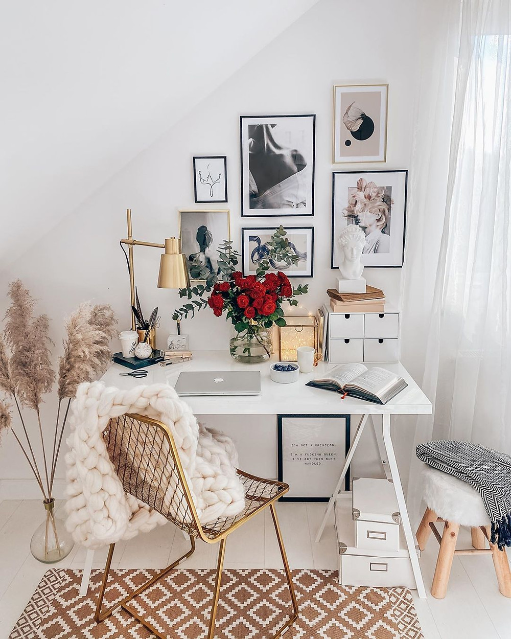 White and gold home office decor idea with pampas grass and wall art collage gallery