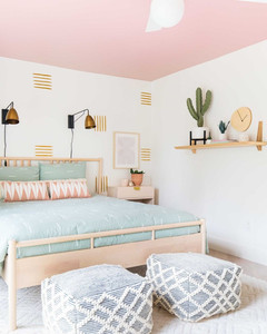 pink cute bedroom design with cactus plant and wallpaper