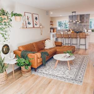 boho living room with leather sofa and plants