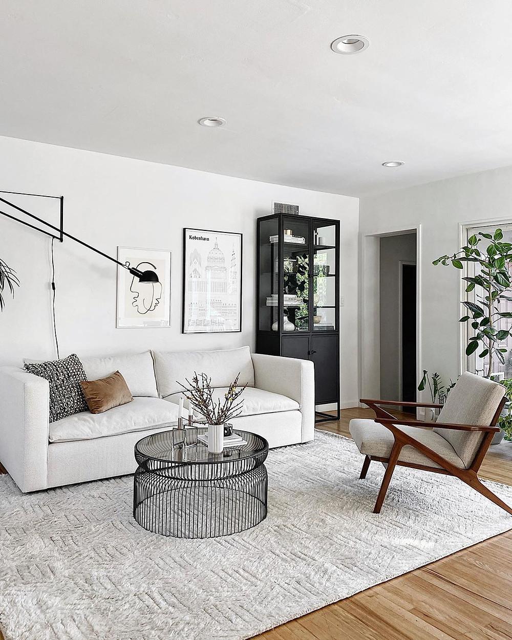 monochromatic open and minimalistic living room