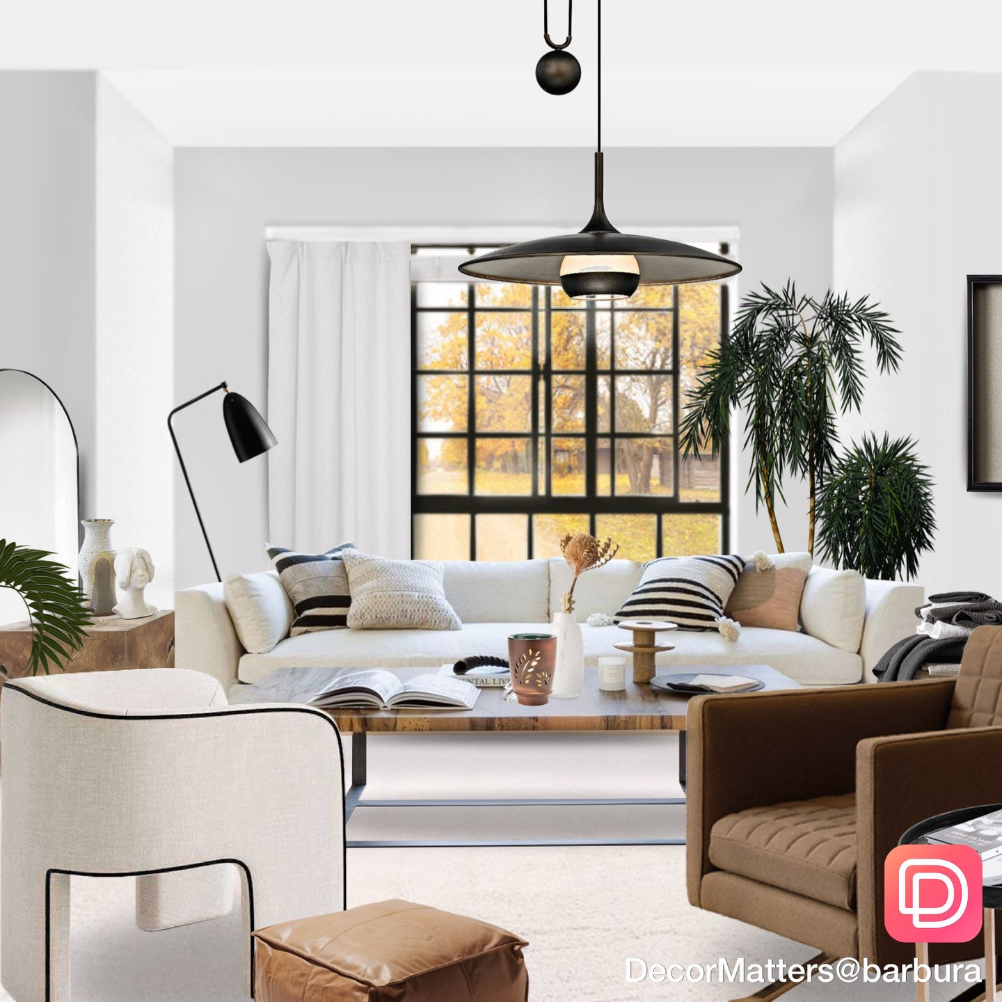 virtual staging of living room designed in DecorMatters app