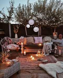 dream cozy outdoor space with lighting and Scandinavian furniture