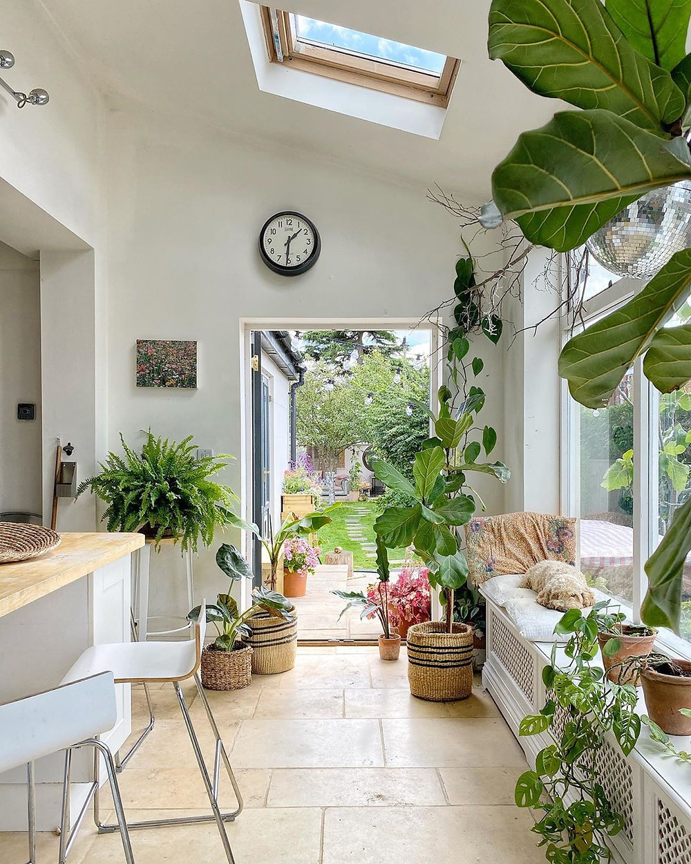 plant filled entryway in stunning kitchen with bar