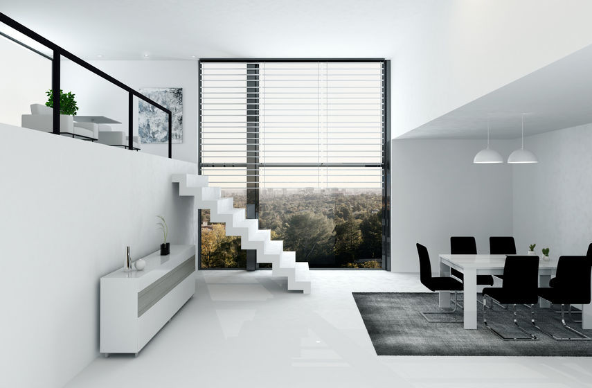 Minimalist interior design with simple interior design white shelf, white stairs, and white dining table with black chairs