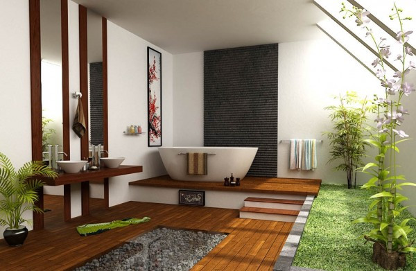 Zen interior design with wood flooring, white bathtub, and double sinks beside plant and grass area