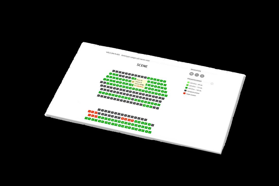 BilletExpressens billetsystem med salsplan, sæder og rækker