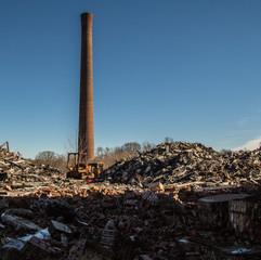 Smoke stack and rubble Chiquola Mill
