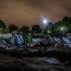 Reedy Falls at night front view