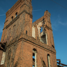 Close up of tower of Abney Mill