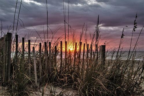Canvas of sunrise through the fence Myrtle Beach SC