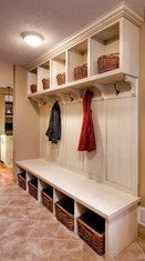 Mudroom bench built-in with cubbies