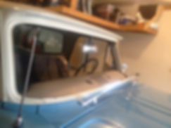 Classic car before new glass