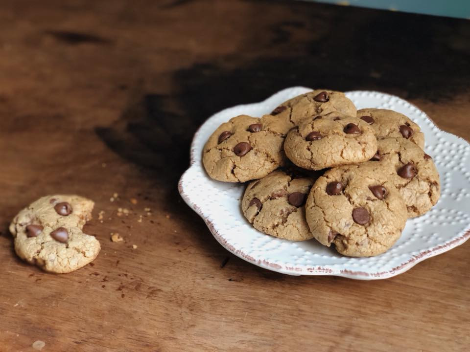 Homemade chocolate chip cookies on a plate. Baking, food photography.