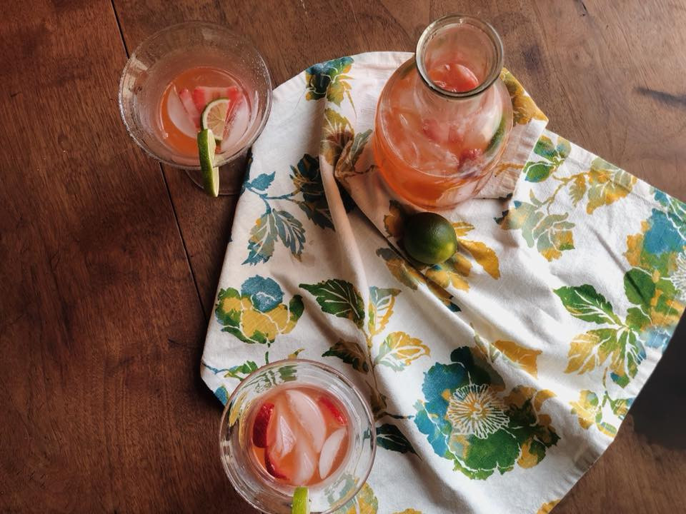 Homemade strawberry limeade. Food and beverage photography. Fresh fruit and kitchen decor.