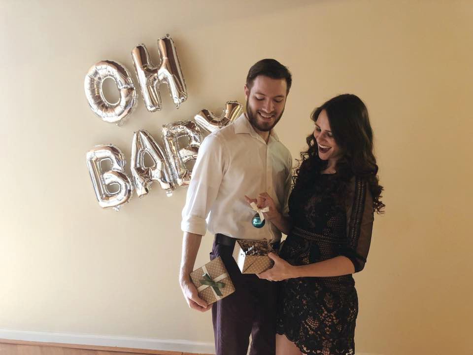 Pregnancy announcement. Gender Reveal. Happy couple jumping. Expecting parents. Boy gender reveal.