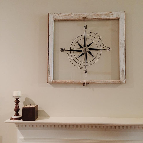Personalized hand painted compass on reclaimed, old, vintage widow over mantel