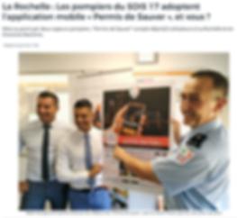 """La Rochelle : Les pompiers du SDIS 17 adoptent l'application mobile """"Permis de Sauver"""""""