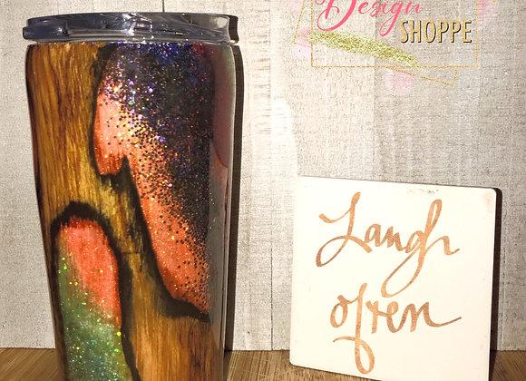 20 oz Orange Geode Woodgrain
