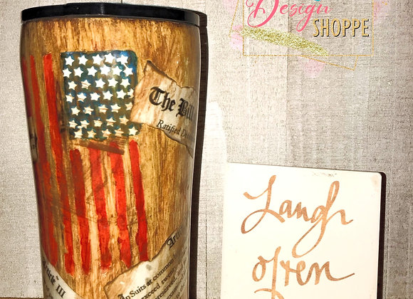 20 oz Bill of Rights American Flag Woodgrain