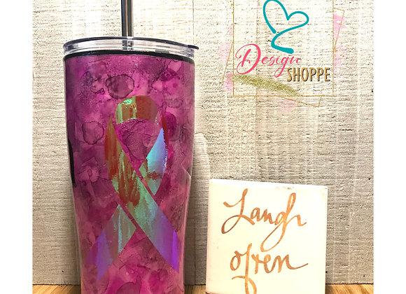 20 0z Pink Breast Awareness RibbonTumbler