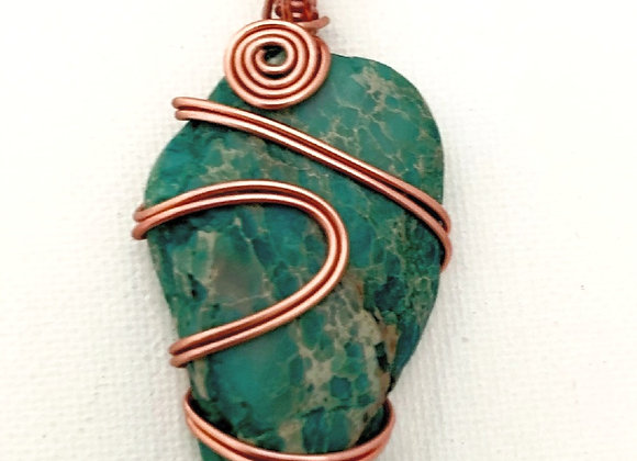 Wire Wrapped Dark Teal Stone