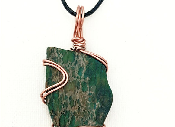 Wire Wrapped Dark Teal Colored Stone