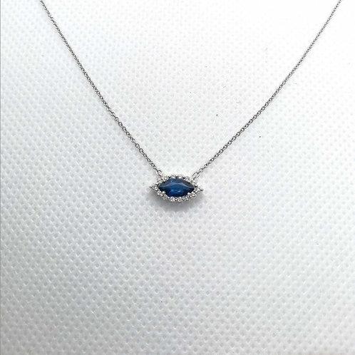 BlueSapphire & Diamond White Gold Necklace