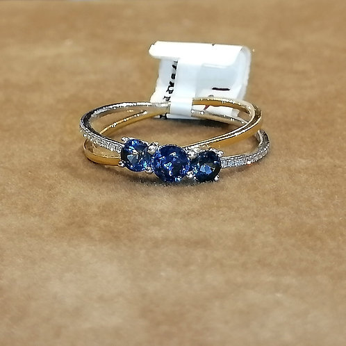 Blue Sapphire & Diamond Two-Tone Gold Ring