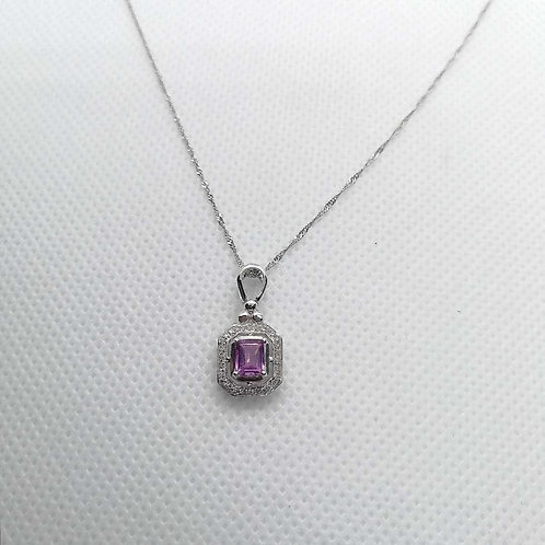 Pink Sapphire & Diamond with White gold Chain