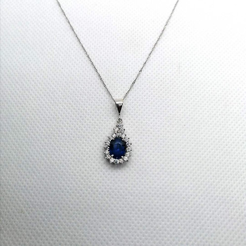 Blue Sapphire & CZ Gold Pendent with Chain