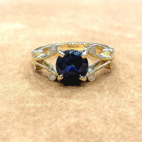 Blue Sapphire & Diamond Yellowgold Ring