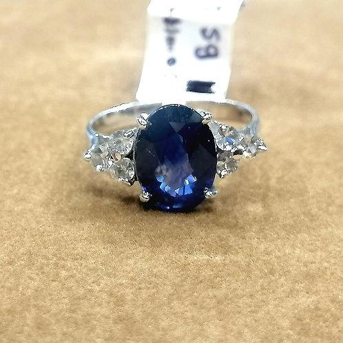 Blue Sapphire & White Sapphire Whitegold Ring