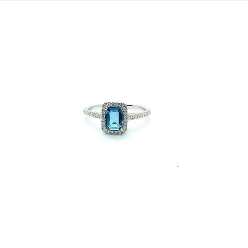Blue Topaz & CZ Silver Ring
