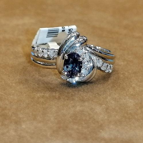 Alexandrite & Diamond Platinum Ring