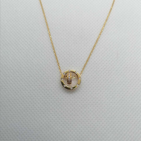 Double Circle Pendant with Gold Chain
