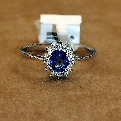 Blue Sapphire & Diamond Whitegold Ring