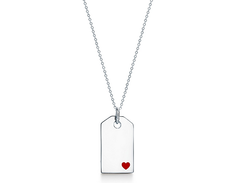 Tag Pendant with a Red Heart