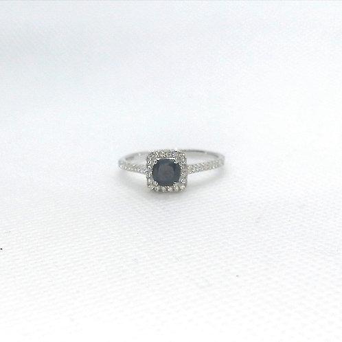 Blue Sapphire & CZ Silver Ring