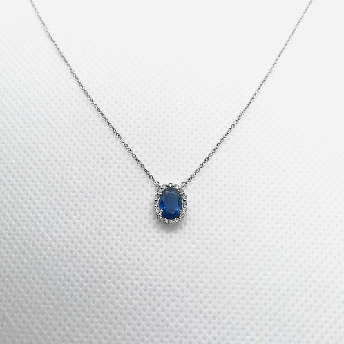 Blue Sapphire & Diamond White gold Necklace