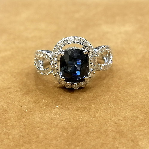 Blue Sapphire & Diamond Yellowgold Ring