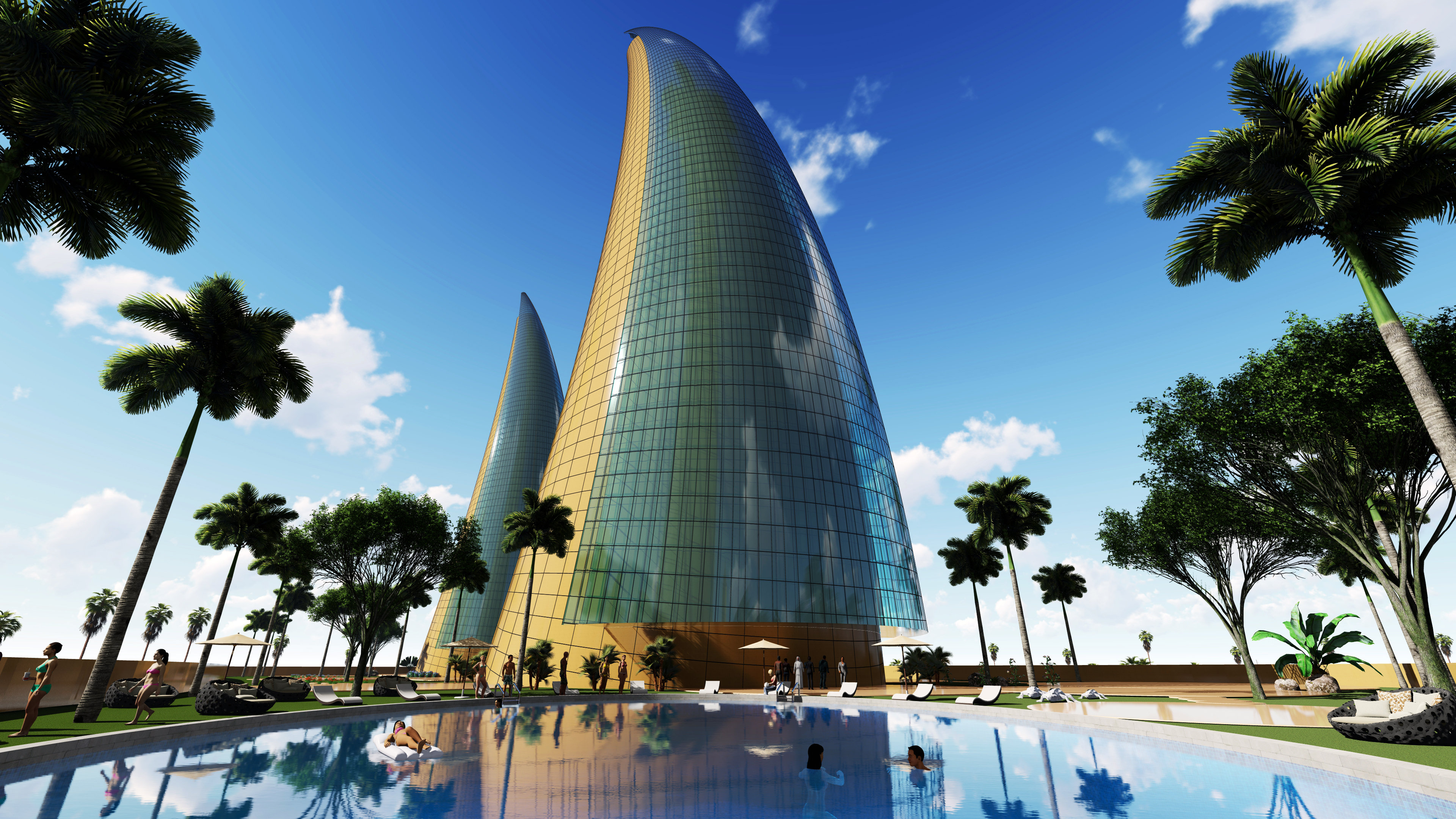 Horn Towers design by Amedee Santalo.
