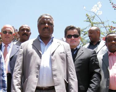 Amédée Santalo with Officials in Addis Abeba - Garden City