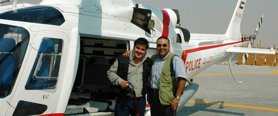 Amedee Santalo using Dubai Police Helicopter