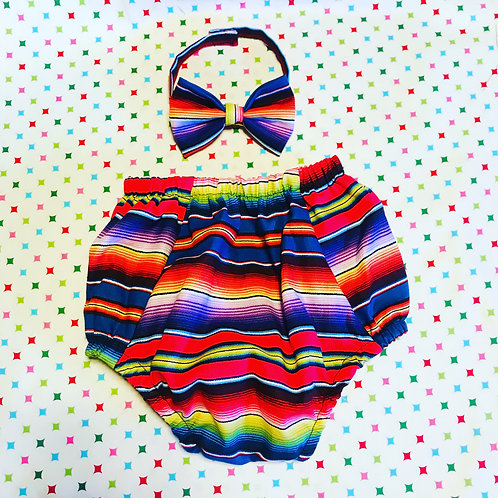 Serape bloomers and bow tie