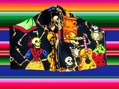 Rhinestone dancing esqueletos mask